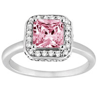 Pink princess & white round diamonds 2.41 carats anniversary ring solid gold 14K