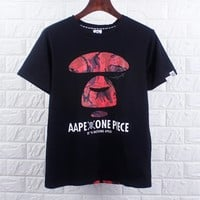 BAPE AAPE Summer Fashion Men Casual Print T-Shirt Top Tee Black