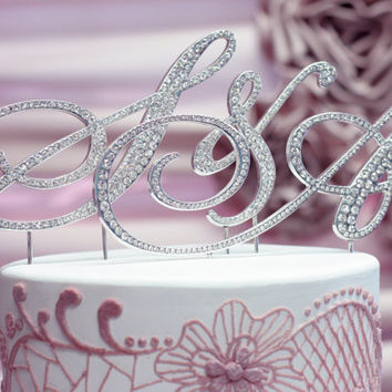 A-Z Initial Silver METAL Wedding B Cake Toppers, Fine Set-In Rhinestones in any letter copy
