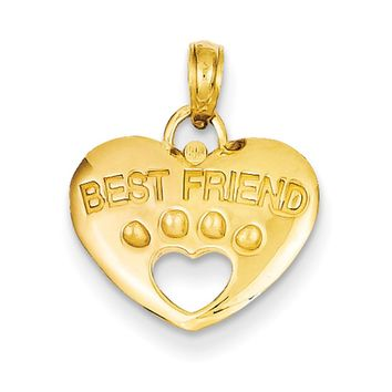 14k Yellow Gold Best Friend Paw Print and Heart Pendant
