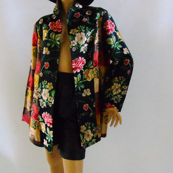 Boho Jacket Jacquard Panel Large Floral Pattern Hand Tailored Tapestry Blazer Vintage Womens 2XL