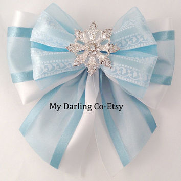 Elsa Hair Bow Frozen Blue Flower Girl Hair Bow Princess Hair Bow Holiday Wedding Disney Princess Hair Bow Snowflake Disney Hair Bow #275