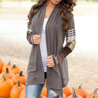 Plaid Printed Long Sleeve Casual Cardigan