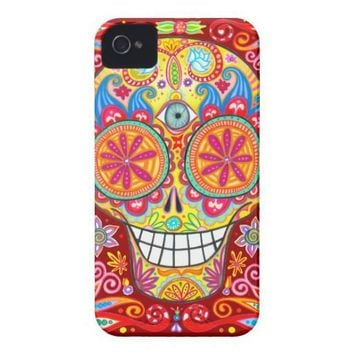 Colorful Sugar Skull iPhone 4/4S Tough Case Tough Iphone 4 Cover from Zazzle.com