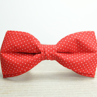 Bow Tie by BartekDesign: pre tied bow tie red with small white polka dots groom wedding classic necktie informal handmade