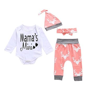 4PCS Newborn Infant Baby Boys Clothes Cartoon Tops Long Sleeves Romper +Pants Hat Headband Outfits Set