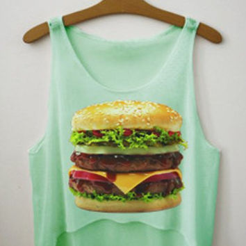 Green Burger Print Sleeveless Crop Top