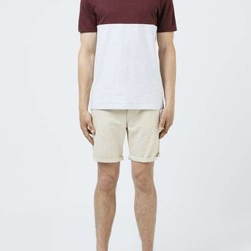 Light Grey and Burgundy Panelled T-Shirt