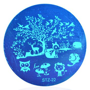 1pcs Latest Animal Tree DIY Nail Art Stamp Template Image Plates Polish Stamping Stencil Print Nail Art Decoration LASTZA22