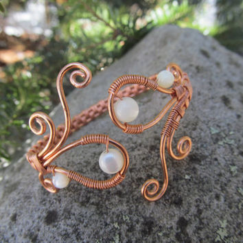 Mother of Pearl Copper Wire Bracelet- White Wedding Shell Beaded Wire Wrapped Bangle Cuff- Handmade Healing Gemstone Goddess Jewelry