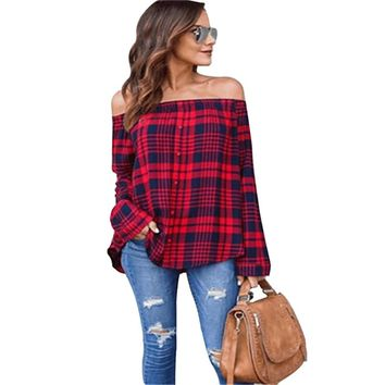 MXTOPPY Red And Black Plaid Strapless Shirt Long Sleeve Slim Single-Breasted Shirts Striped Tops Off Shoulder Sexy Blouses