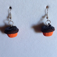75% Off on Halloween Items - Black Frosting Halloween Cupcake Earrings - Chocolate