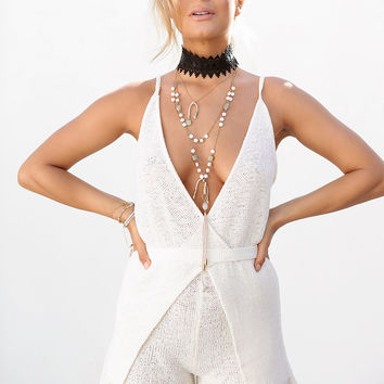 Buy White Knit Playsuit Online by SABO SKIRT