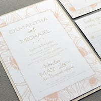 Champagne and Blush Pink Wedding Invitations, Floral Wedding Invites, Calligraphy Wedding Pocket Invite Suite, Rustic Wedding Invitation Set