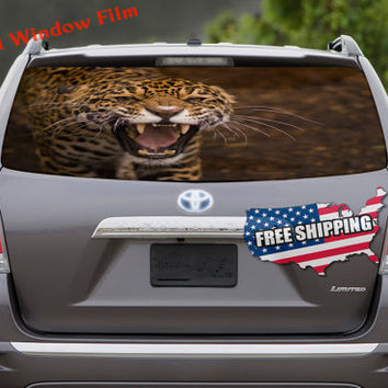 Leopard Cheetah Cat Full Color Print Perforated Film Truck SUV Back Window Sticker Perf015