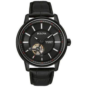 Bulova 98A139 Men�s Dress Self-Winding Black Dial Black Leather Strap Automatic Watch