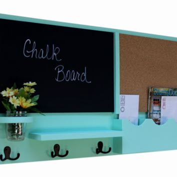 Message Center with Chalkboard & Cork Board Mail Slots Key Hooks Mason Jar