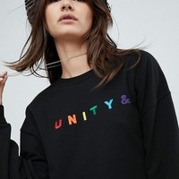 ASOS X GLAAD Oversized Sweatshirt With Embroidery at asos.com