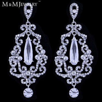 Multi AAA CZ Austrian Crystal Chandelier Long Drop Earrings for Women Bridal Jewelry Wedding Accessories EH439