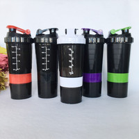 Hot Sale Multifunctional 600ml BAP Free Shaker Bottle Protein Shaker Blender Mixer Bottle Sports Fitness Gym 3 Layers