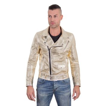 Men's Leather Biker Jacket belted gold Perfecto | Made In Italy