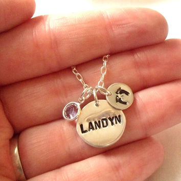 Personalized Baby Name Necklace with Footprints & Birthstone -- 6 Letters Maximum, New Mom, Hand Stamped, Mother's Day - MADE TO ORDER