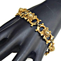 Florenza Gold Plated Bracelet Art Glass Bead Set on Silver Tone Dome Signed