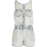 River Island Girls acid wash denim Romper