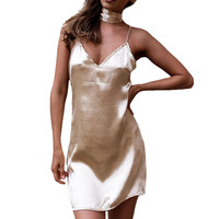 Elegant Gold Satin Slip Women Summer Dress 2016 V Neck Backless Party Female Casual Halter Mini Girl Sexy Club Short Beach Dress