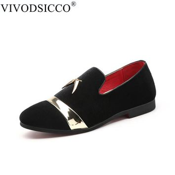 VIVODSICCO Fashion Men Party And Wedding Handmade Loafers Men Velvet Shoes With Tassels Gold Buckle Men Dress Shoe Men's Flats