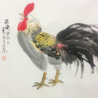 rooster painting chinese traditional painting Original paintings   oriental art watercolour-lovely rooster  No.15