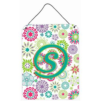 Letter S Flowers Pink Teal Green Initial Wall or Door Hanging Prints CJ2011-SDS1216