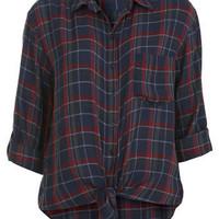 Knot Front Plaid Shirt - Tops  - Apparel
