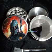Star Wars Boba Fett Fire 4 Piece Herb Grinder Pollen Screen Scraper Brush