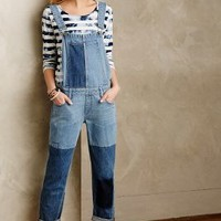 Paige Patchworked Sierra Overalls Tinted Denim