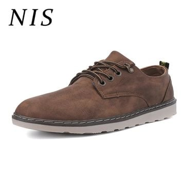 Faux Suede Leather Oxford Shoes