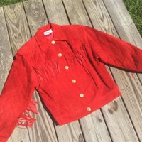 Vintage Melanzona RED Faux Leather/Suede Western Jacket with Fringe size XS
