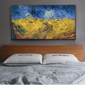 Van Gogh Wheatfield With Crows World Famous Painting Reproductions On The Wall Art Canvas Prints Landscape Picture Cuadros Decor