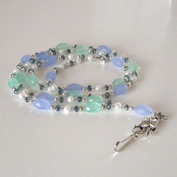 Beaded Breakaway ID Lanyard, Spring Green, Blue Glass Beads, White Freshwater Pearls, Crystals, Silver Flower Clasp, Mothers Day Gift