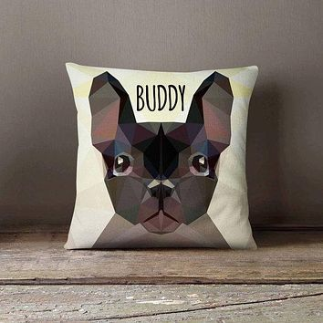 Personalized Geometric Bulldog Dog Pillowcase   Decorative Throw Pillow Cover   Cushion Case   Designer Pillow Case   Gift for Pets Lovers