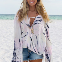 Feel The Breeze Ivory Pastel Tie Dye Surplice Top