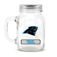 Carolina Panthers NFL Mason Jar Glass With Lid