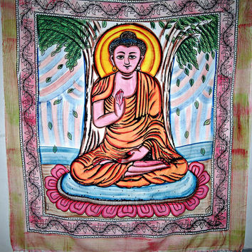 Indian Meditation Buddha Hippie Hippy Indian Tapestry Wall Hanging Throw Cotton Bedcover Bohemian indian Table Cloth Bed Spread Decorative