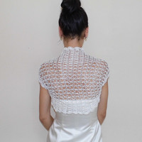 Bridal BOLERO JACKET WEDDING Shrug lace crochet ivory Shrugs Boleros