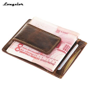 MRF4 RFID blocking Genuine Leather  front pocket wallet with magnet clip and card ID Case men wallet id&card holder