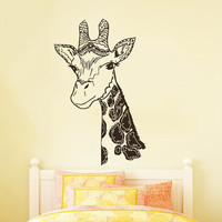 Wall Decals Giraffe Animals Jungle Safari African Childrens Decor Kids Vinyl Sticker Wall Decal Nursery Bedroom Murals Playroom Art SV6059