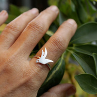 Flying Bird Custom Ring Dreamt by meltemsem on Etsy