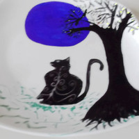 Blue Moon Halloween Gothic Hand Painted Gift Cookie Plate Black Cat Full Moon Tree Silhouette Handmade Gift