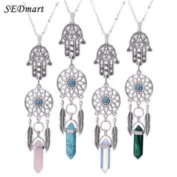 Natural Opal Stone Necklace Dreamcatcher Boho Silver Color Hamsa Hand