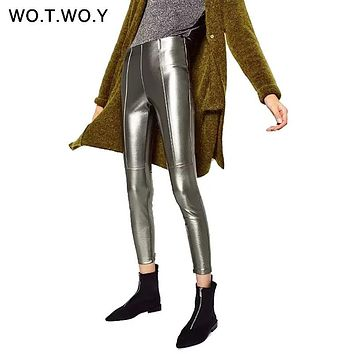 WOTWOY High Quality Tight Leather Pants Women Autumn PU Leather Trousers Side Zippers 2017 Silver Black Pencil Pants High Waist